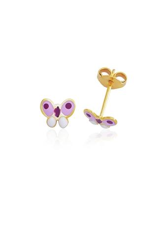 Σκουλαρίκια Ροζ Πεταλούδα Σμάλτο