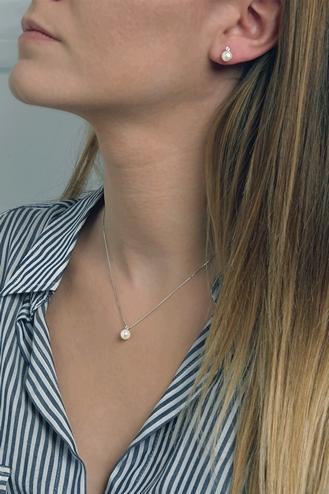 Σκουλαρίκια Μαργαριτάρι Πέτρα