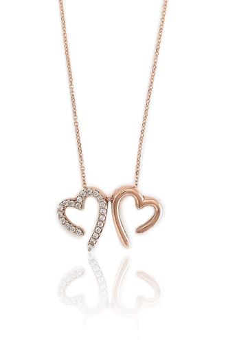Κολιέ Double Heart Rose Gold