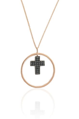 Κολιέ Round Black Cross