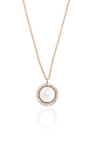 Κολιέ Pearl Rose Gold Dots
