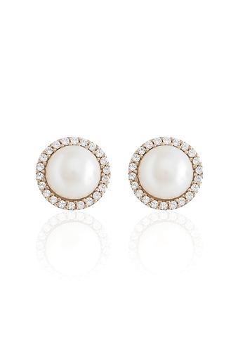 Σκουλαρίκια Pearl Rose Gold Dots