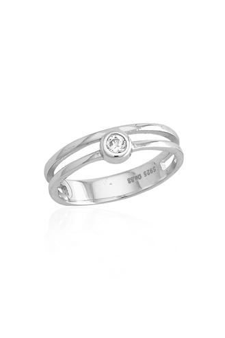 Δαχτυλίδι Μονόπετρο Διπλό W