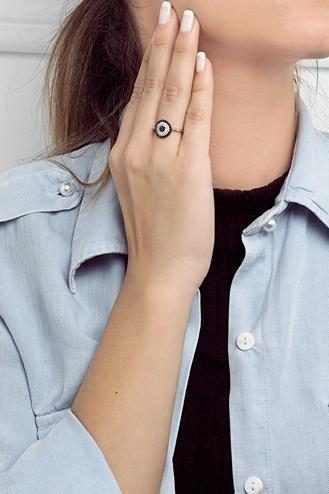 Δαχτυλίδι Round Eye Μαύρο