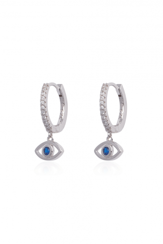 Earrings Hoops Blue Eye