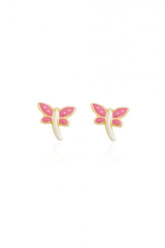 Earrings Butterfly Pink-White