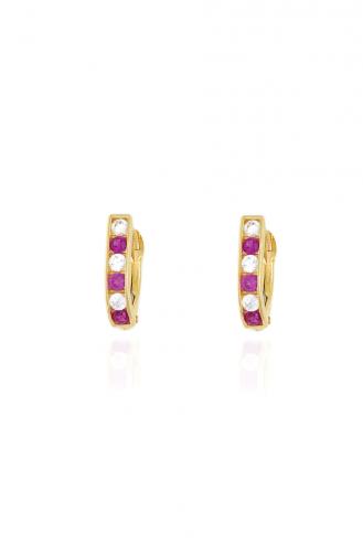 Earrings Hoops Stones Pink