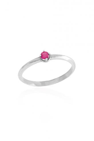 Δαχτυλίδι Μονόπετρο Λευκό Ροζ