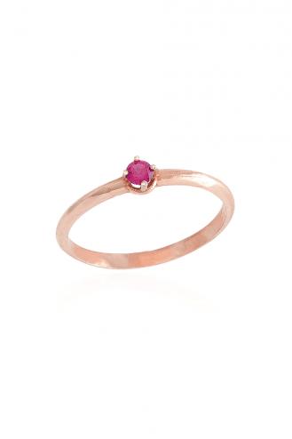 Δαχτυλίδι Μονόπετρο Ροζ