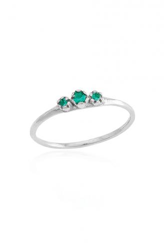 Δαχτυλίδι Λευκό Green Dots
