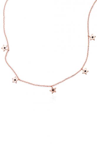 Κολιέ Ροζ Χρυσό Star Drops