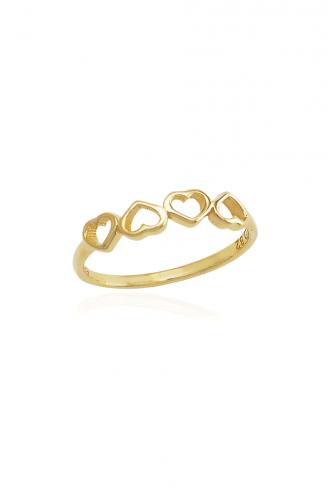 Δαχτυλίδι Χρυσό Καρδιές
