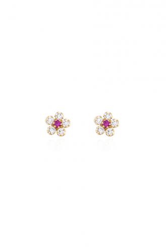 Σκουλαρίκια Λουλουδάκια Ροζ