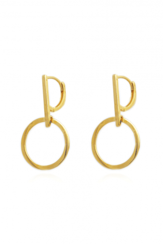 Earrings Gold Line Circle