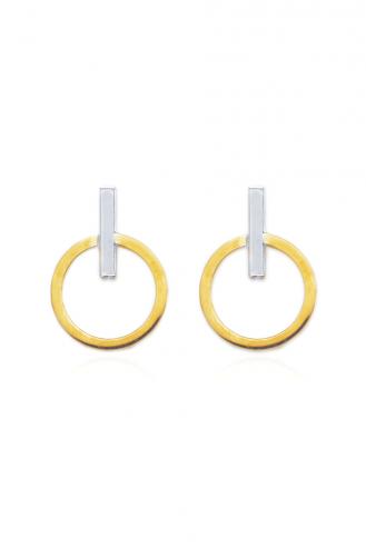 Σκουλαρίκια Χρυσά White Line