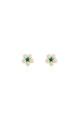 Earrings Green Flowers