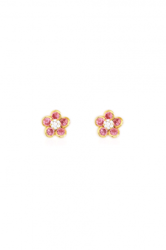 Earrings Daisies Pink