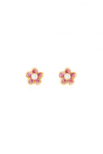 Σκουλαρίκια Μαργαρίτες Ροζ