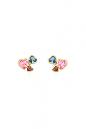 Earrings Triple Hearts